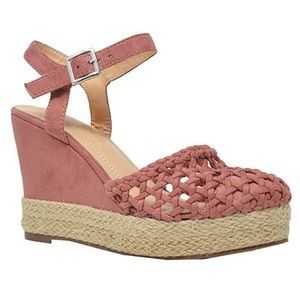 💕Pink suede wedge espadrille size 7.5